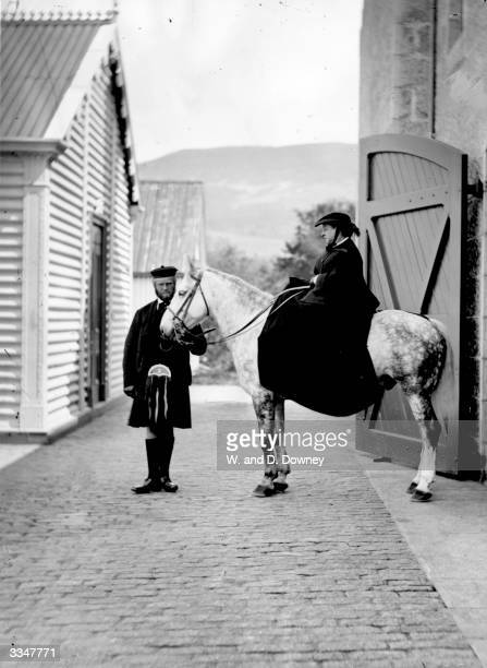 Queen Victoria seated on her horse at Balmoral with her ghillie John Brown Queen Victoria often stayed at her Highland retreat after the death of her...