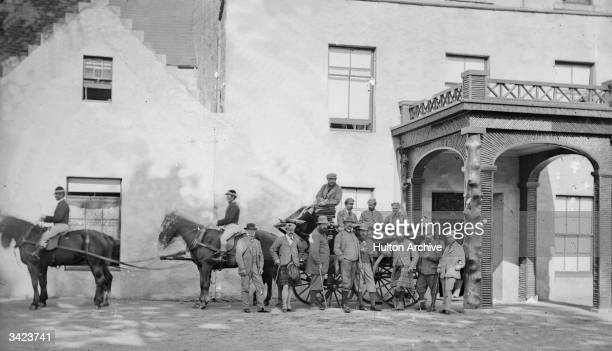Shooting party, including the Prince of Wales , at Balmoral Castle in Scotland.