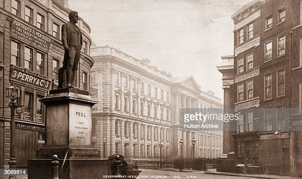 A statue of British prime minister Sir Robert Peel near the General Post Office on Cheapside London