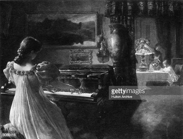 A young woman plays Chopin at the piano while a child takes tea in the ajoining room An engraving by FM Bredt