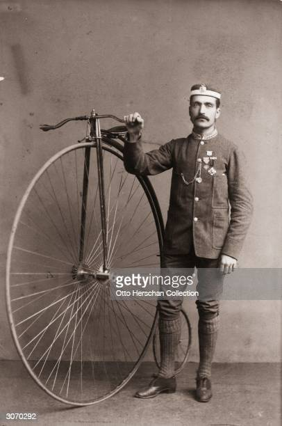 Captain W Horton Hutchins of Cardiff Bicycle Club with his penny farthing bicycle a popular vehicle during the Victorian era