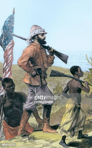 Henry Morton Stanley approaching Lake Tanganyika, Africa, 19th century. Stanley was sent by the New York Herald to look for Dr Livingstone, who had...