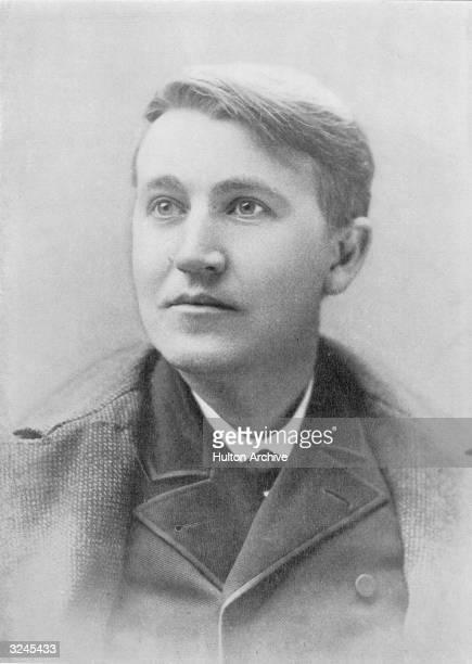 Portrait of American inventor Thomas Alva Edison as a young man