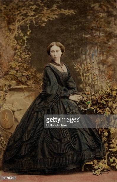 Princess Alice Hesse Darmstadt third daughter of Queen Victoria in a typical purpleblack Victorian dress