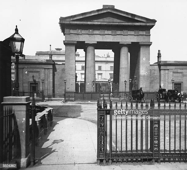 The entrance to Euston Station in London