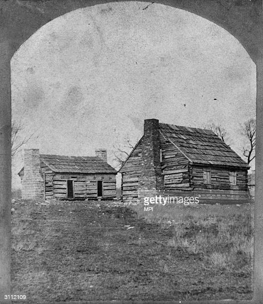 The log cabins which housed the slaves at the Hermitage the plantation home of US president Andrew Jackson near Nashville Tennessee When Jackson...