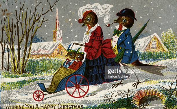 The Robin family take a stroll on a wintry Christmas morning on this Victorian Christmas greetings card