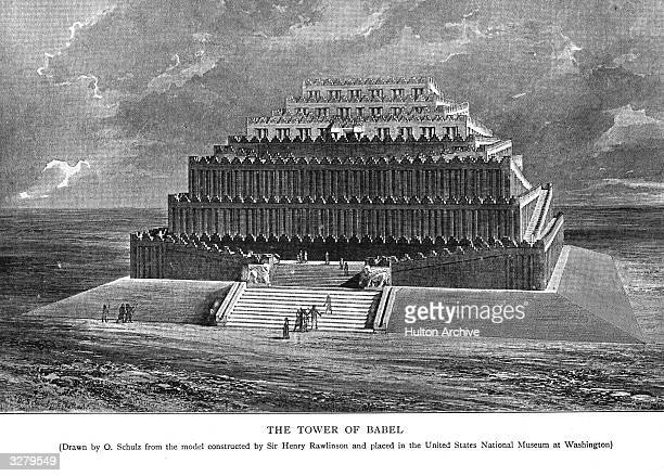 The Tower of Babel which according to the Old Testament was erected on the plain of Shinar in Babylonia by descendants of Noah Original Artwork Drawn...