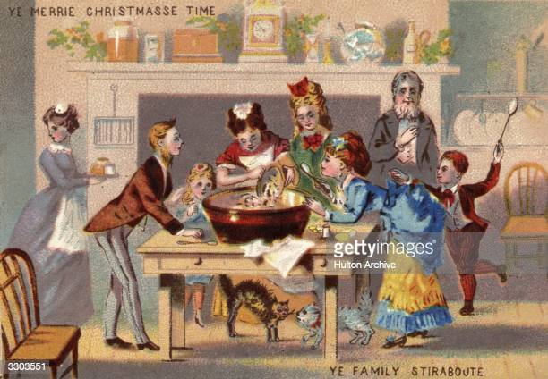 A Victorian family gather to stir the Christmas pudding for luck Christmas card of 1871 or 1872