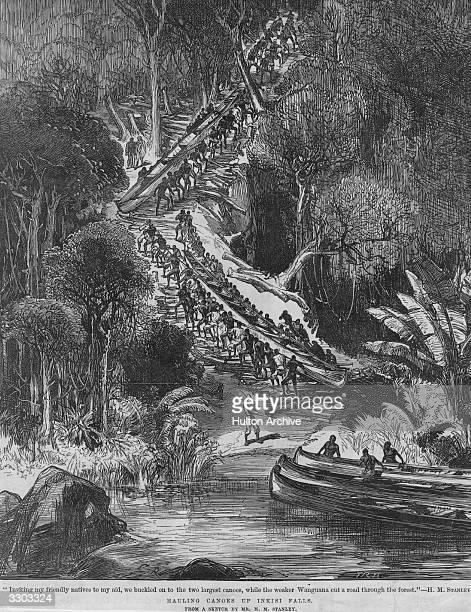 British explorers David Livingstone and Henry Stanley charting the rivers and lakes of Africa Hundreds of Africans carry the long boats up a hill...