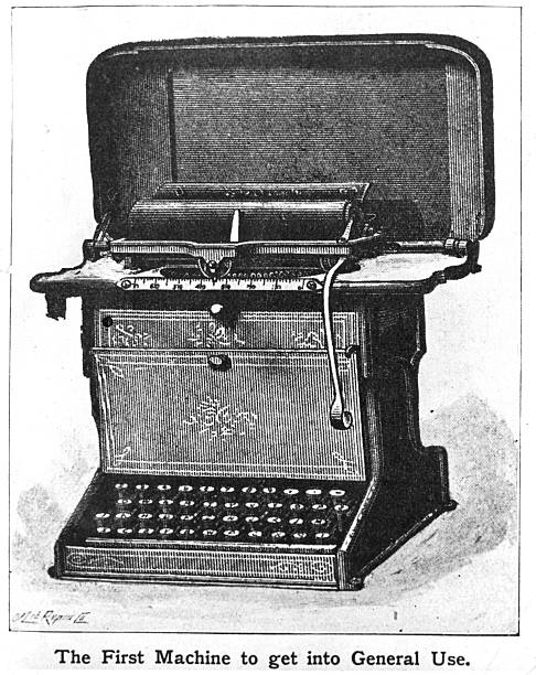 Early office equipment. The first typewriter to get...