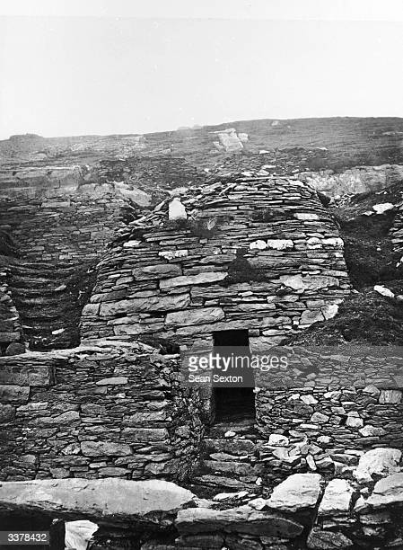 A monastery building on Skellig Michael an island off the Kerry Coast and a noted centre of early Celtic church Carbon transfer print