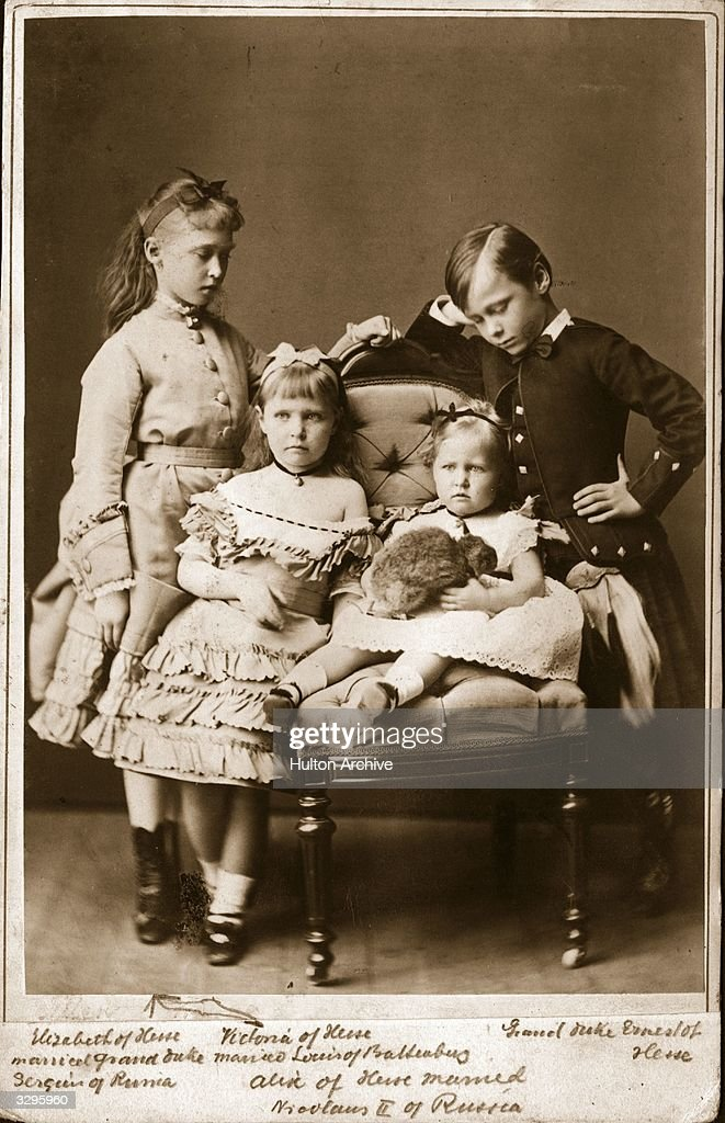 Children of the Grand Duke of Hesse Darmstadt: Ernst Ludwig (1868 - 1937), later Grand Duke; Victoria of Hesse (1863 - 1950), later wife of Louis Battenberg (Mountbatten) and 1st Marquess of Milford Haven; Elizabeth of Hesse (1864 - 1918), who married Sergei, Grand Duke of Russia; and Alexandra (1872 - 1918), who married Tsar Nicholas II of Russia.