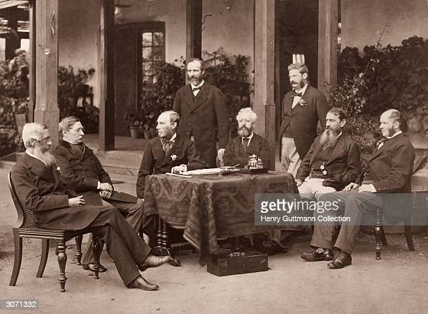 The British governors of India under the Raj convene at Simla From left to right they are W Muir Lord Robert Napier Governor General Lord Northbrook...