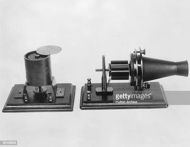Replicas of Thomas Edison inventions the magnetic transmitter and receiver exhibited at the Centennial Exposition in Philadelphia Pennsylvania in 1876