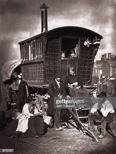 A Gypsy caravan at an encampment near Latimer Road Notting Hill London Original Publication From 'Street Life in London' by John Thomson and Adolphe...