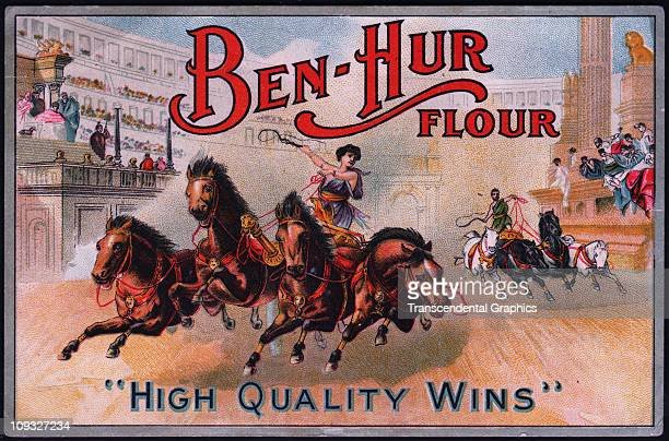 UNKNOWN circa 1880 A flour advertising flyer printed in the 1870s anonymously features the image of a chariot race in ancient Rome