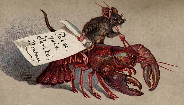 A mouse rides a lobster on this Victorian Christmas...