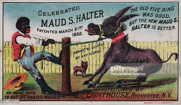 YORK circa 1880 A racist trade card printed by Rochester Litho Company about 1880 shows a cartoon black man struggling with a mule