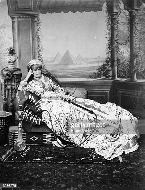 A Victorian lady smoking a hookah in Egypt