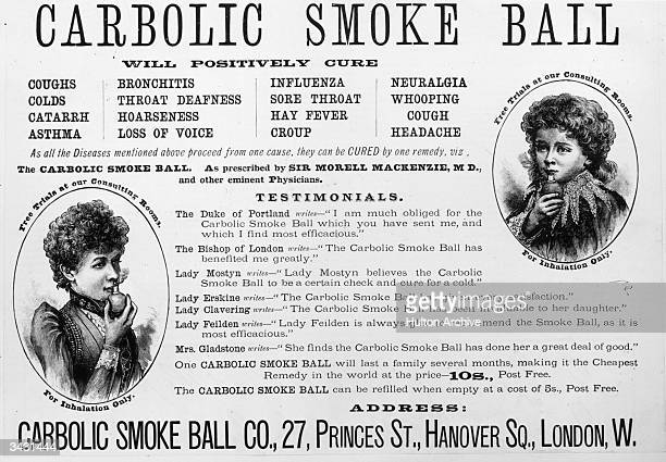 An advertisement for a 'Carbolic Smoke Ball' to cure colds headaches asthma etc with testimonials from famous people