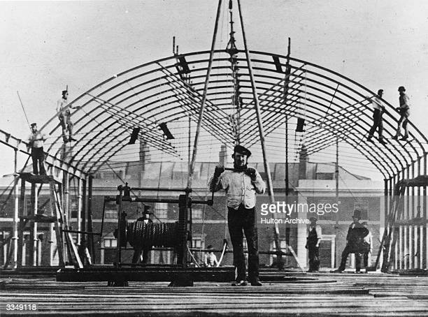 An archway being constructed, during the building of the South Kensington Museum, later renamed the Victoria & Albert Museum, London.
