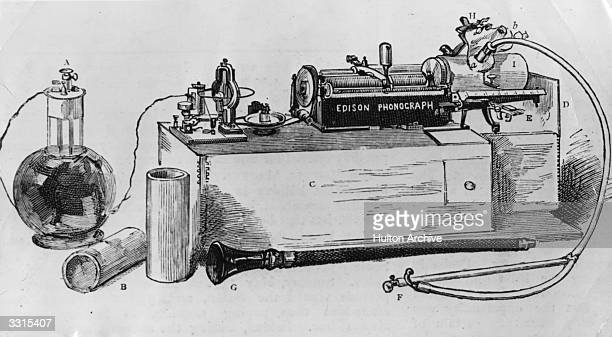 An illustration of Thomas Edison's 'Perfected Phonograph'