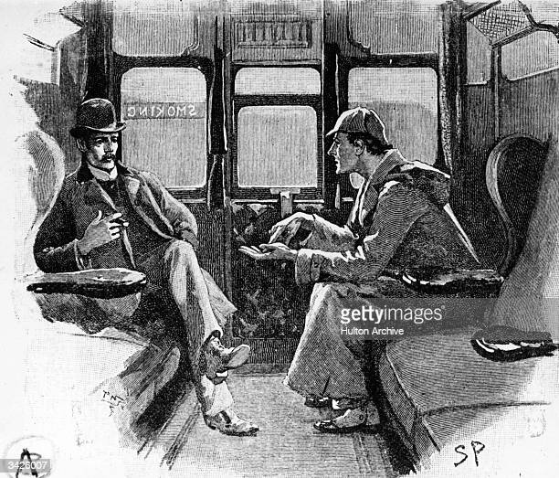 Detective Sherlock Holmes in a railway carriage with his companion Dr Watson. Original Artwork: Drawing from 'Strand' magazine
