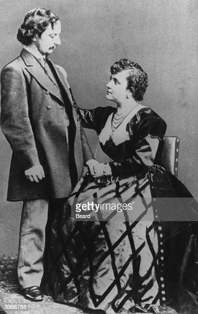 English poet and critic Algernon Charles Swinburne with his friend, actress Adah Isaacs Menken.