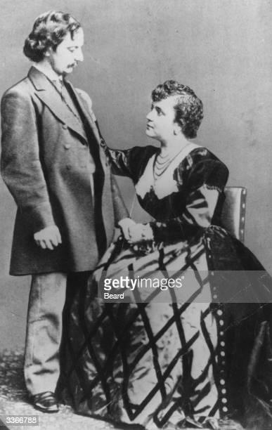 English poet and critic Algernon Charles Swinburne with his friend, actress Adah Isaacs Menken.