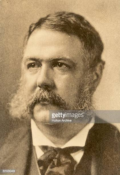 Headshot portrait of Chester A Arthur the twentyfirst President of the United States who ascended from the vicepresidency following the 1881...