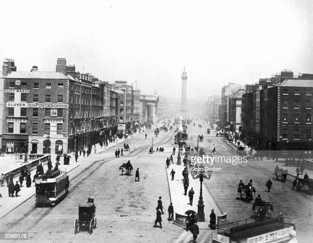 O'Connell street and O'Connell Bridge Dublin with Nelson's pillar in the background