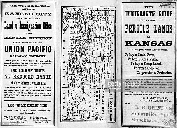 Circa 1880 pamphlet encouraging westward immigration to Kansas includes a map of the state