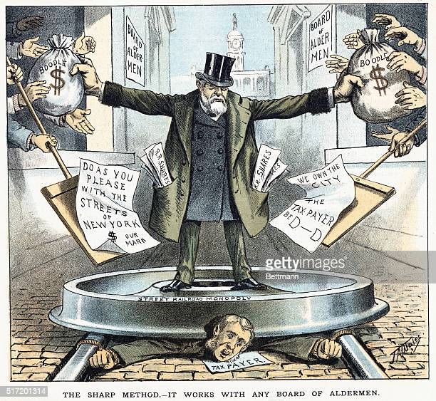 Circa 1880 political cartoon depicting the corruption and control of the street railroad monopoly represented by Jay Gould over city aldermen and...