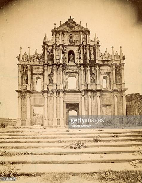 The Baroque facade of Macao Cathedral in the old quarter of the Portuguese settlement of Macao west of Hong Kong