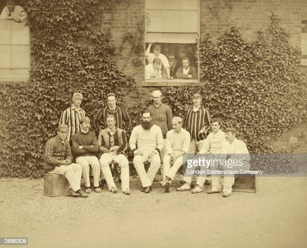 England and Gloucestershire cricketer Dr W G Grace On the far right is Allan Steel and on the left of Grace in blazer and pads is Albert Neilson...