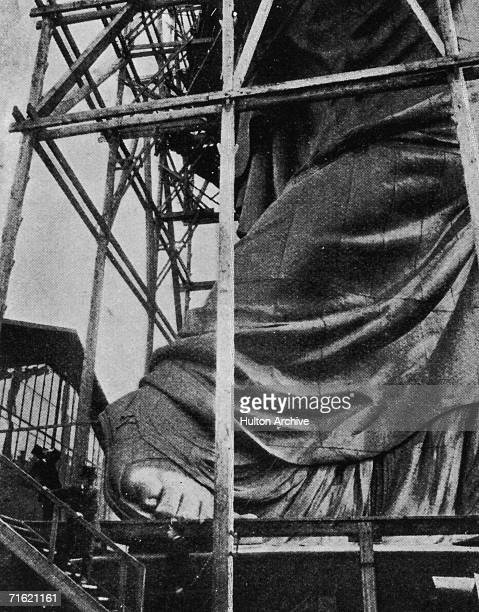 The construction of the Statue of Liberty in Paris before its journey to the United States