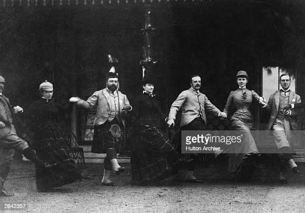The future King Edward VII enjoys a house party at Mar Lodge in Scotland as Prince of Wales From left Lord Longford Emily Yznaga the Prince of Wales...