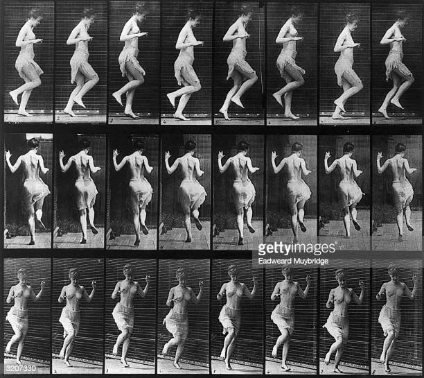Twentyfour fulllength images of a halfnude woman hopping on her left foot in front of a grid backdrop viewed from three different perspectives...