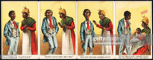 UNKNOWN circa 1885 A fourpanel racist advertising lithographic folder comically raises a family question when a pair of twins one black and one white