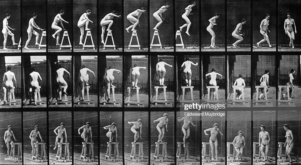 A photo-montage, by photographic pioneer Edweard Muybridge, of a woman performing acrobatics. Original Publication: From 'Animal Locomotion' - pub. 1887.