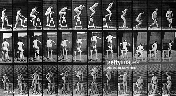 A photomontage by photographic pioneer Edweard Muybridge of a woman performing acrobatics Original Publication From 'Animal Locomotion' pub 1887