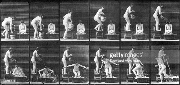 A series of experimental pictures demonstrating Eadweard Muybridge's theory of human locomotion