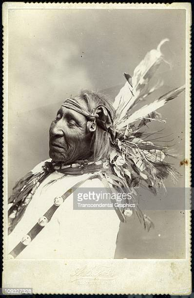 GLENDIVE MONTANA circa 1885 AS Foss photographer of Glendive Montana captures the great chief Red Cloud as he floats into the happy hunting ground in...