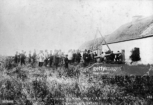 Irish tenants evicted by landlords from their smallholding for the nonpayment of rent on the estate of Captain Hector Vandeleur in County Clare