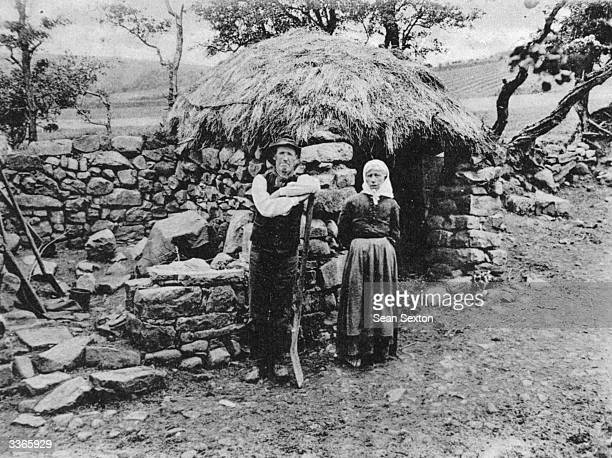 Irish tenants evicted from their smallholding and made homeless for failure to pay the rent Furniture has been removed and the thatched roof...