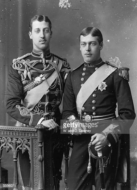 King George V king of Great Britain as a prince with his older brother Prince Albert Victor Duke of Clarence