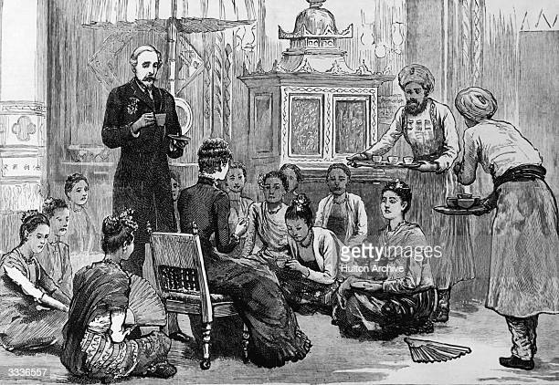 Lady Dufferin receiving Burmese ladies for afternoon tea in the palace at Mandalay Burma Original publication The Graphic pub 3rd April 1886