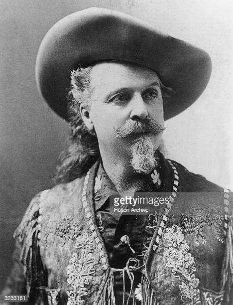 Portrait of American showman army scout and pony express rider William F Cody aka 'Buffalo Bill' wearing a cowboy hat and an embroidered fringed vest...