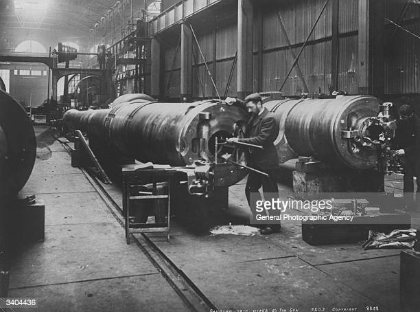 The breech block of a large gun being gauged and fitted at Woolwich Arsenal